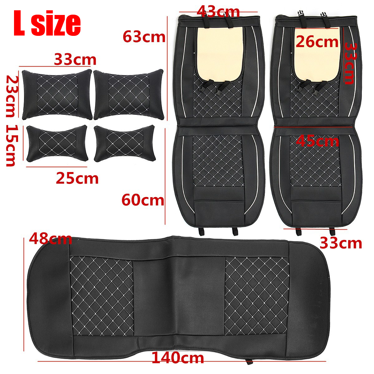 Deluxe 5 Seats Car PU Leather Front Rear Cover Cushion Mat + Pillows Universal